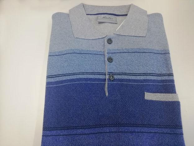 competitive price 781c6 19a7d Maglia Polo Uomo in cotone colore grigio avio e blu con ...