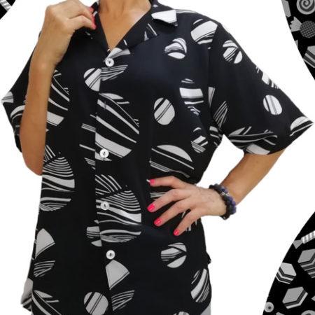 camicia-nera-con-cerchi-bianchi-rigati