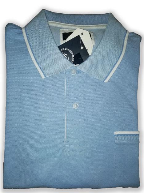 big sale 83aa1 d4070 Maglia Polo Uomo Granchio azzurro con taschino mezza manica ...