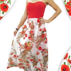 abito-con-corpetto-rosso-con-fantasie-rose-margherite