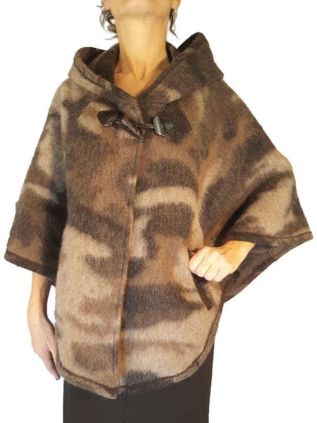 Mantella Teresa Meteore colore nocciola grigio e marrone