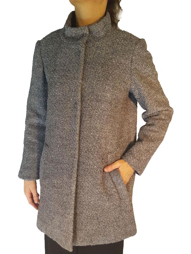 Giaccone in tessuto Bouclè colore grigio medio Ivrea Bouclè, Prani