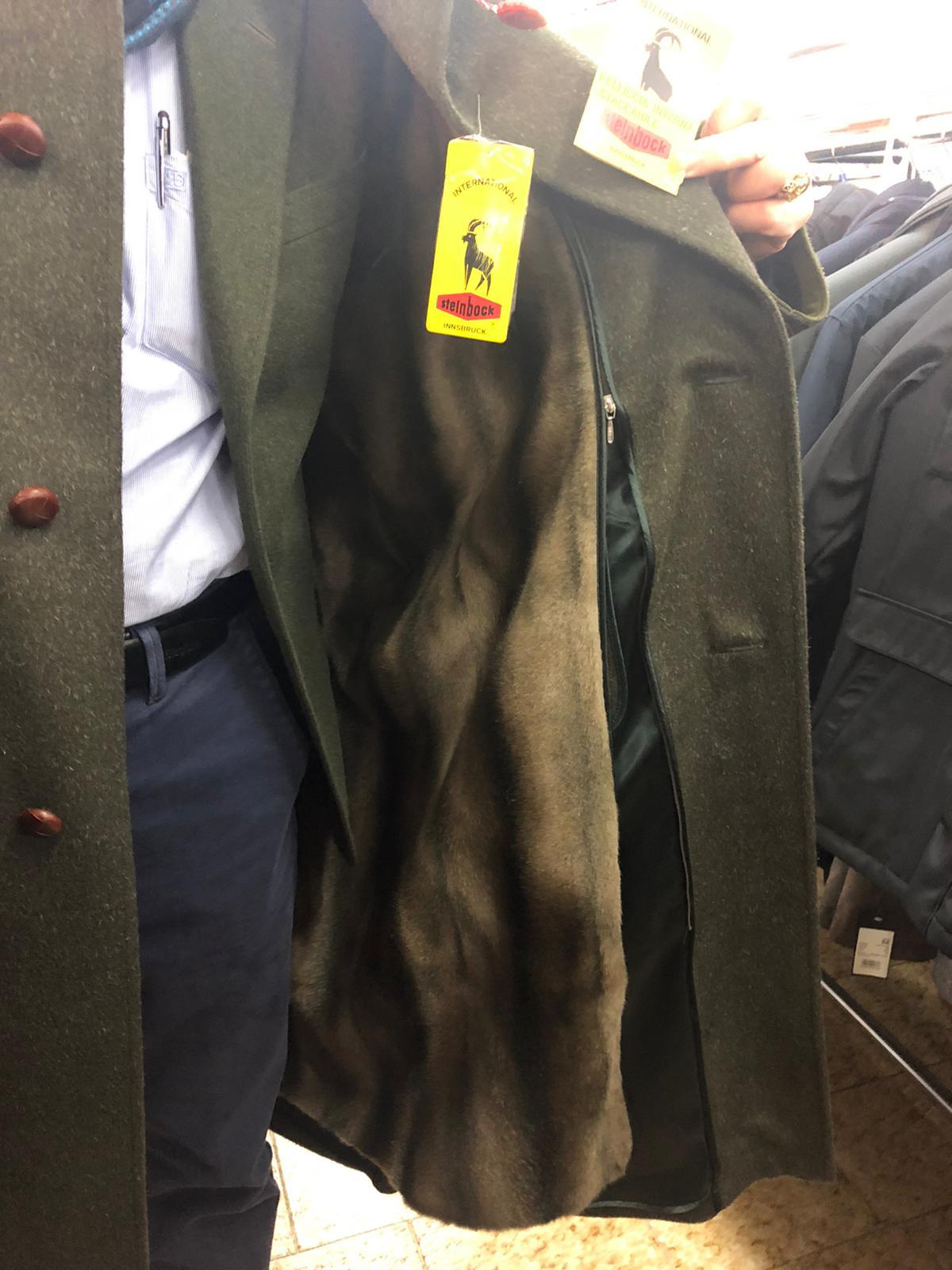 Cappotto uomo Loden con pelliccia visone ecologico interna staccabile, articolo 037, Steinbock