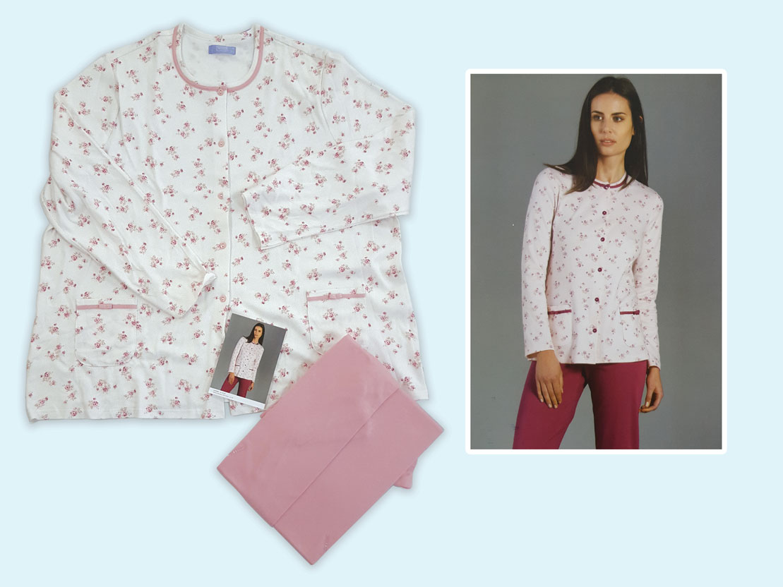 LINCLALOR Camicia da notte 100 /% cotone mezza manica taglie forti azzurra