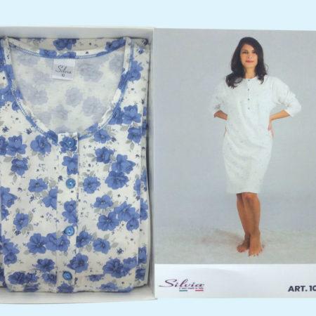 camicia-da-notte-donna-rose-azzurre-art1026-Silvia