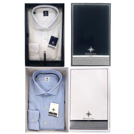 camicia slim fit sciancrata uomo bianco e azzurro