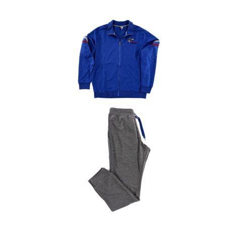 tuta da ginnastica uomo colorata sportiva e tempo libero blu grigia