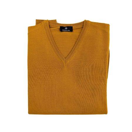 pullover lana merino uomo giallo