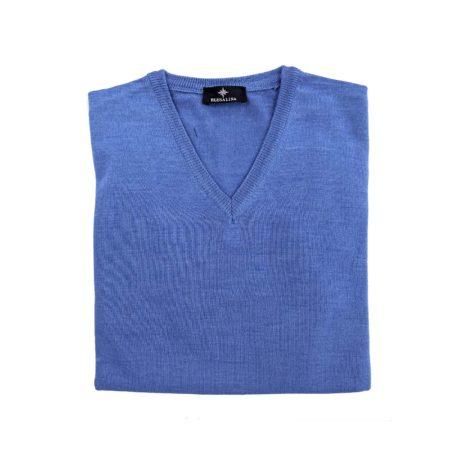pullover lana merino uomo azzurro