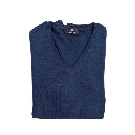 pullover lana merino uomo blu