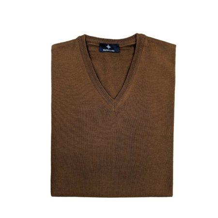 pullover lana merino uomo marrone