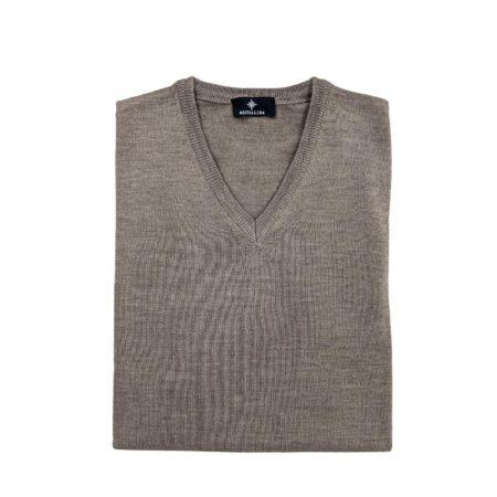 pullover lana merino uomo marroncino