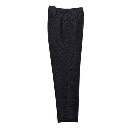 pantaloni donna tipo leggings elasticizzati neri puntini bianchi