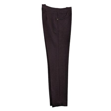 pantaloni donna tipo leggings elasticizzati neri puntini bordò