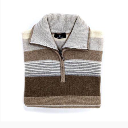 maglione lana uomo con zip sul collo marrone chiaro