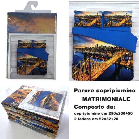 completo parure set copripiumino disegno new york