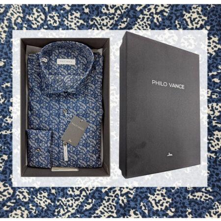 camicia soft slim uomo fantasia blu