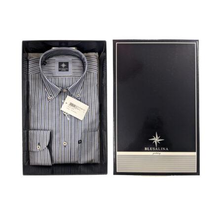 camicia da uomo a righe giovanile con bottoncini