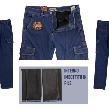 jeans modello cargo felpati in pile