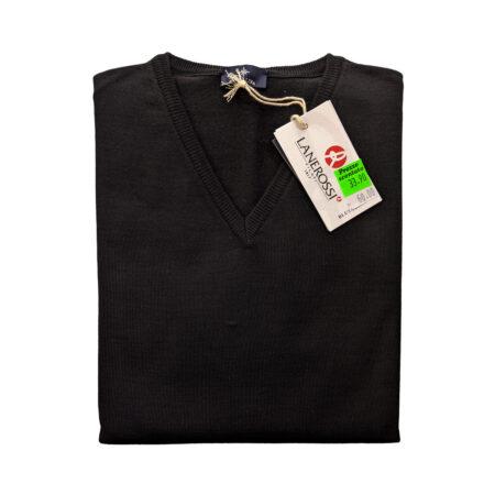 pulover V uomo lana merinos Lanerossi nero