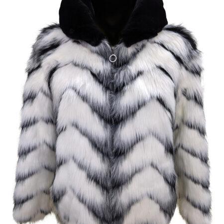 giubbino donna in eco pelliccia ecologica bianco e nero
