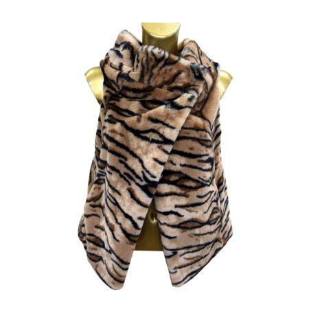 pellicciotto donna smanicato tigrato