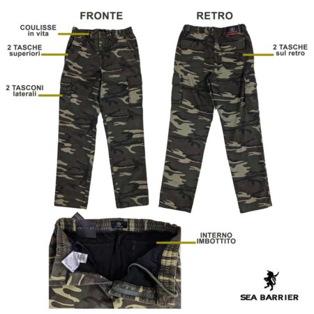 Sea Barrier Jonathan pantalone cargo mimetico verde militare felpato imbottito