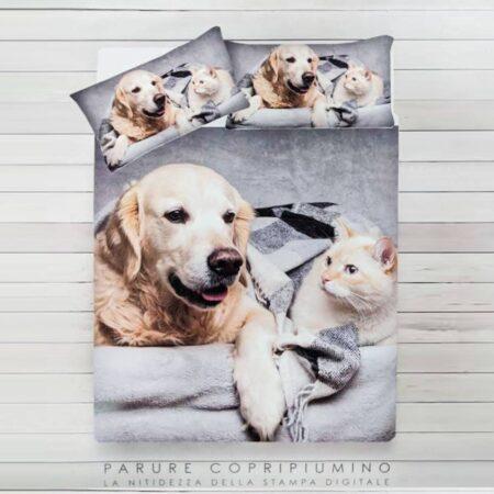 parure copripiumino matrimoniale stampa digitale cane e gatto