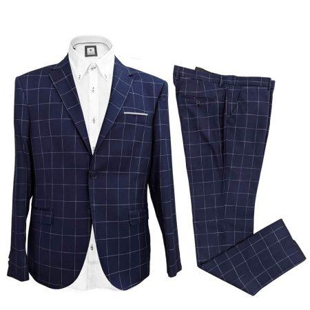 vestito elegante cerimonia blu a quadrettoni