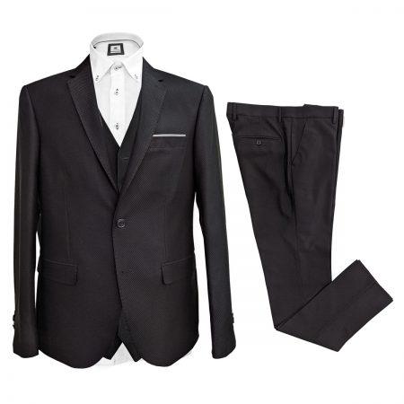 abito elegante per cerimonia matrimonio tre pezzi nero