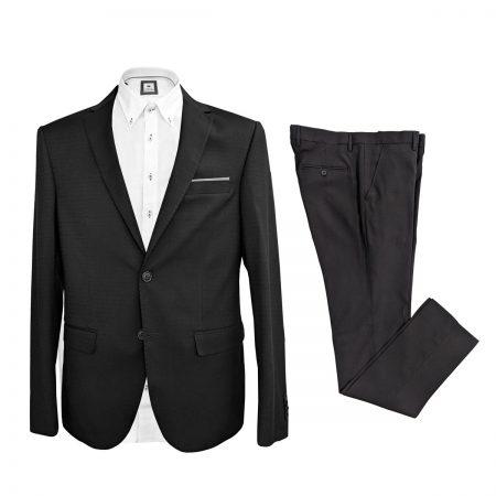 vestito elegante da uomo nero puntinato